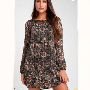 Lulus Ashford Black Floral Long Sleeve Shift Dress